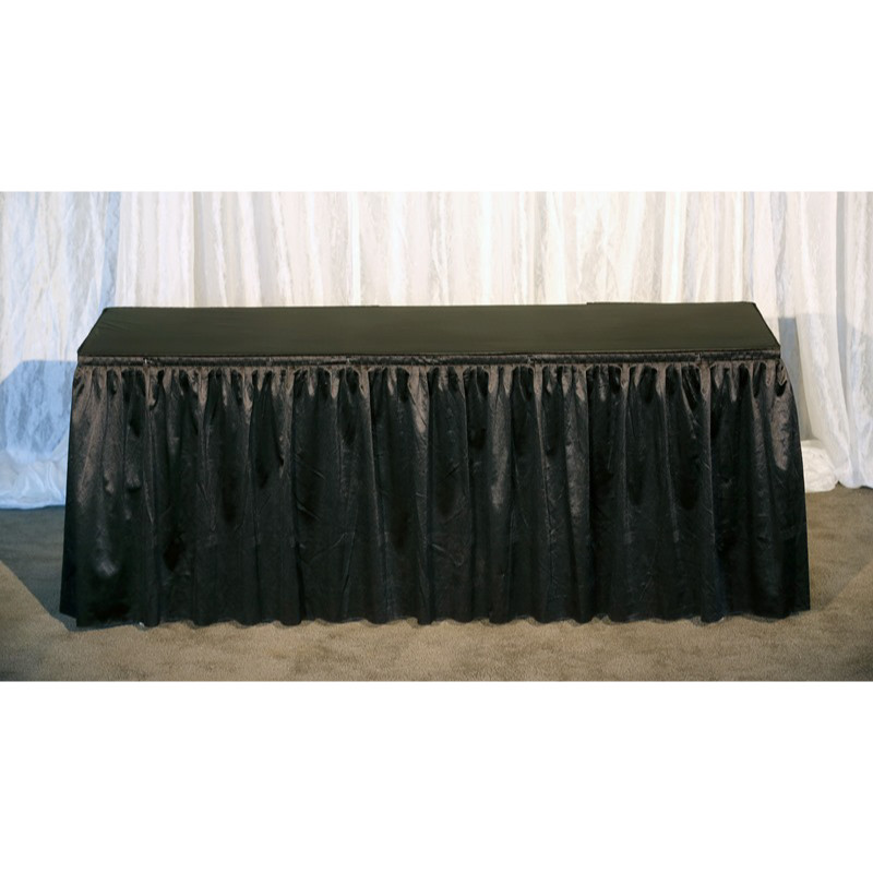 6ft Black Dressed Table (Black Vinyl Top)