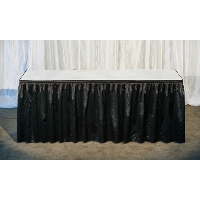 6ft Black Dressed Table (White Vinyl Top)
